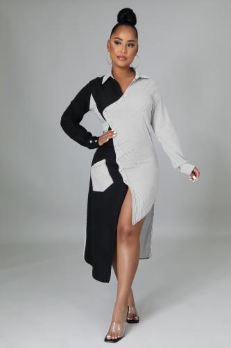 Women's 2021 autumn and winter new long shirt dress irregular skirt A863
