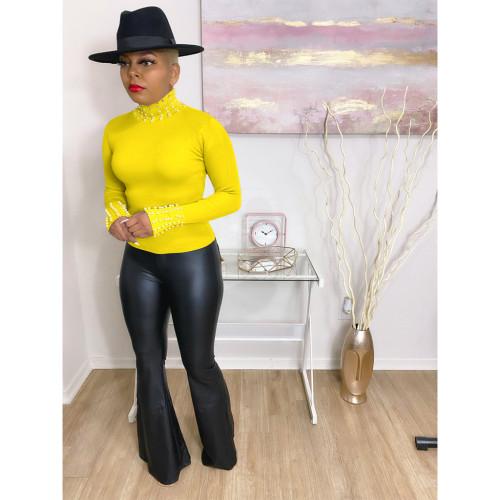 Women's High Elastic Small Hole Striped Top Fall/Winter Pearl High Neck Long Sleeve T-Shirt E520