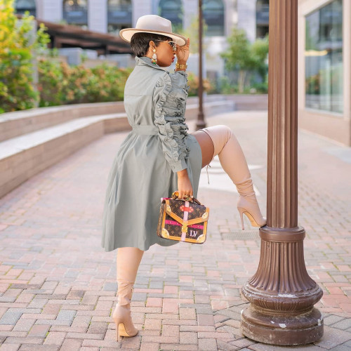 Women's autumn and winter new fashion mid-length windbreaker hot-selling ruffled jacket E527