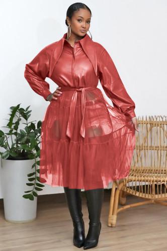 Women's autumn and winter flocking soft leather mesh stitching jacket coat windbreaker C641