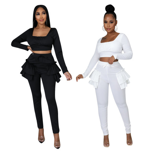 Women's autumn and winter sweet and fresh square neck long-sleeved ruffled trousers two-piece suit D943