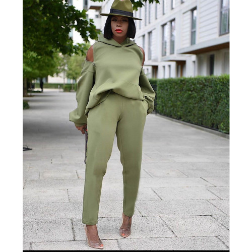 Autumn and winter long-sleeved solid color suit sweater sweater urban casual green suit halter zipper hoodie GT9949