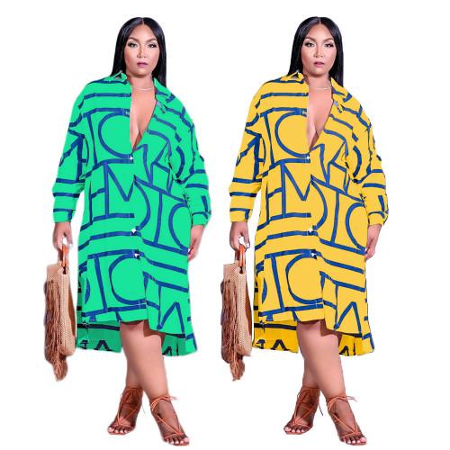 Summer and Autumn Fashion Print Lapel Long Sleeve Irregular Hem Ladies Shirt Dress GT9948