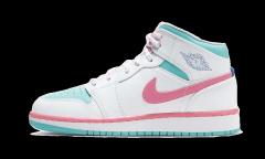 Air Jordan 1 Mid White Pink Green Soar