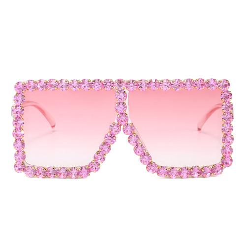 Bling Bling Crystal Rhinestones Oversize Square Women Sunglasses