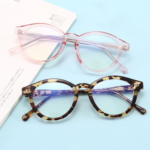 Retro Round Frame Eyeglasses TR90 Blue Light Blocking Glasses