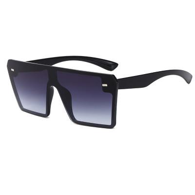 Fashion 2020 Vintage Mono Lens  Shades Flat Top Square Sunglasses