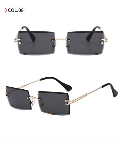 Fashion 2020 Retro Vintage Men Women Tinted Small Rectangle Rimless Sunglasses