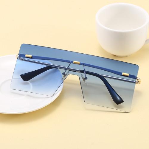 Fashion 2020 Flat Top Oversized Square Rimless UV400 Women Ladies Shades Sunglasses