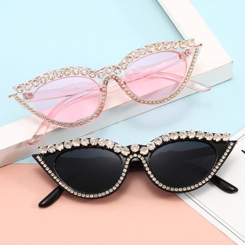 Luxury Sparkling Crystal Cat Eye Sun glasses Cheap Bling Bling Women Rhinestones Sunglasses