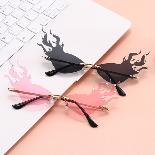 Rimless Ladies Women Tinted Fire Flames with Crystal Design Sunglasses