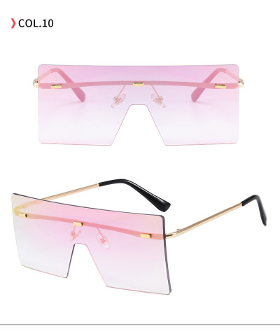 Fashion 2020 Flat Top Oversized Square Rimless UV400 Women Ladies Shades Sunglasses