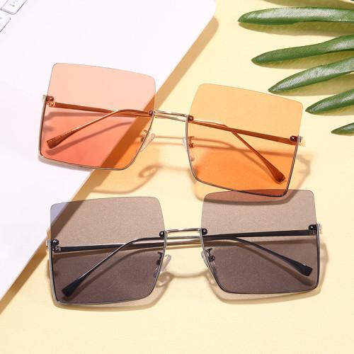 Trendy Square Half Rim Men Women Sunglasses