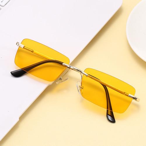 Retro Vintage Spring Hinges Sun glasses Small Rimless Rectangular Sunglasses