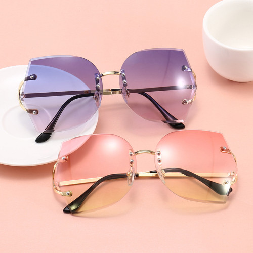 Women Sun glasses Elegant Lady Oversized Rimless Sunglasses
