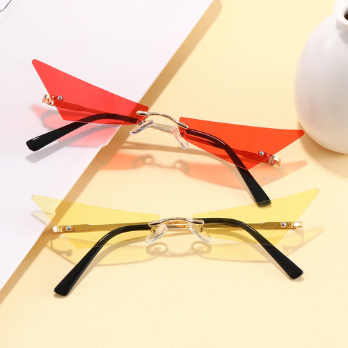 Tinted Small Rimless Pointed Cat Eye Sunglasses