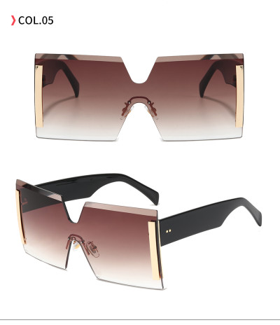 Women Sun glasses Tinted Rimless Oversize Square Sunglasses