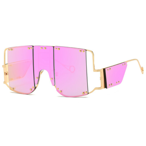 Oversized Steampunk Square Big Frame Women Shades Sunglasses