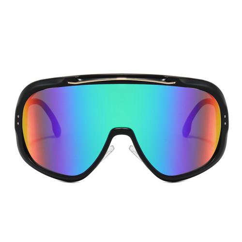 Large Frame Sports Sun glasses Mono Lens Mirrored UV400 Oversize Cycling Shield Sunglasses