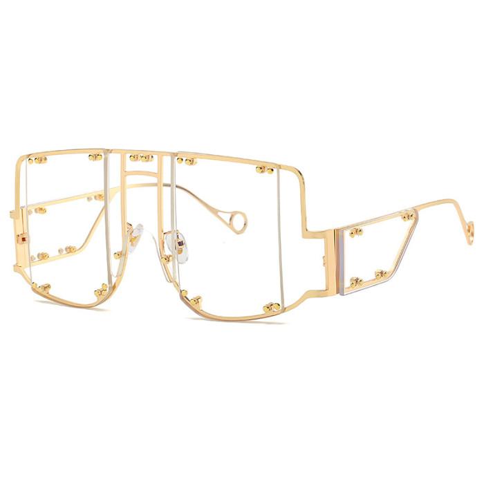 Oversized Steampunk Square Big Frame Women Shades Sunglasses