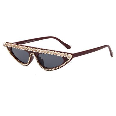 Rhinestones Flat Top Cat Eye Sunglasses Burgundy