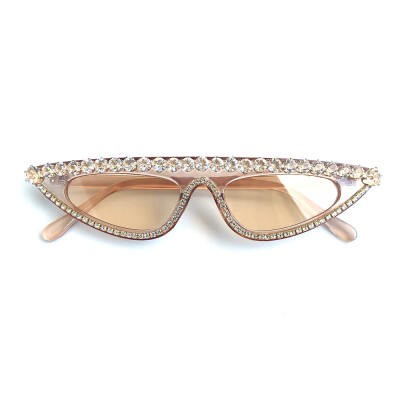 Rhinestones Flat Top Cat Eye Sunglasses Champagne