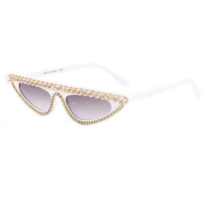 Rhinestones Flat Top Cat Eye Sunglasses White
