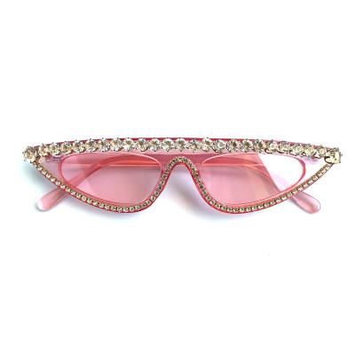 Rhinestones Flat Top Cat Eye Sunglasses Pink