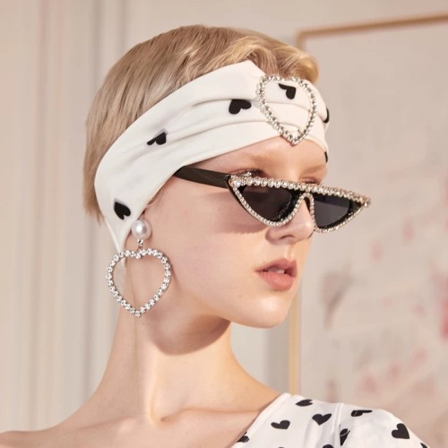Rhinestones Flat Top Cat Eye Sunglasses