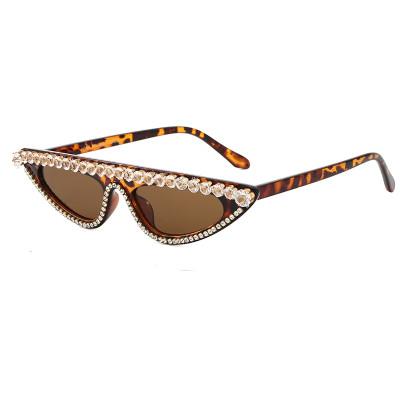 Rhinestones Flat Top Cat Eye Sunglasses Leopard