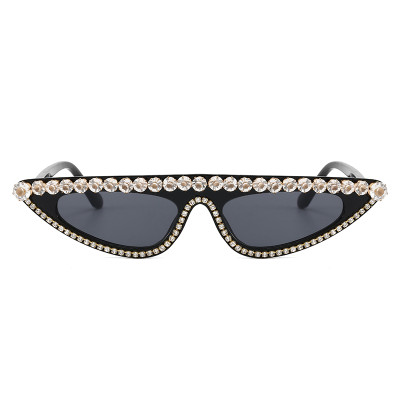Rhinestones Flat Top Cat Eye Sunglasses