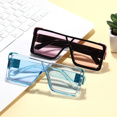 Multi Colors Luxury Flat Top Rectangle One piece Lens Sun glasses Men Women Oversize Shades Sunglasses