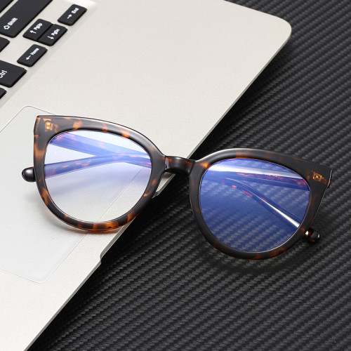 Women Computer Eyeglasses Round Cat Eye Blue Light Blocking Glasses