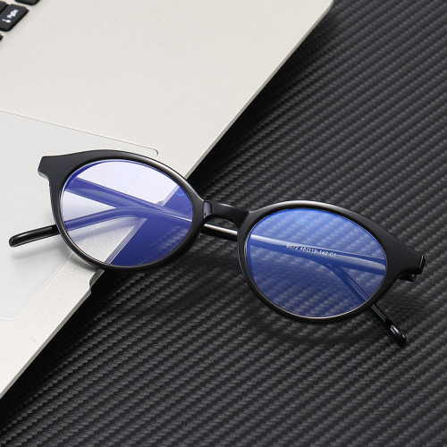 Retro Vintage Small Oval Tortoise Optical Frame with Anti Blue Light Lenses