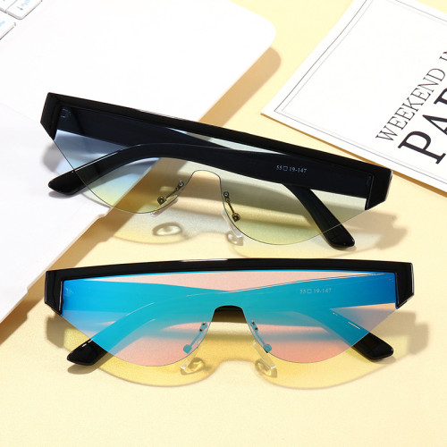 Wholesale Fashion Small Cat Eye Sun glasses One piece Lens Flat Top Women Sunglasses