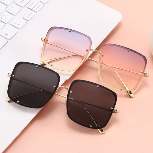 Men Sun glasses UV400 Steampunk Gradient Square Metal Shades Sunglasses