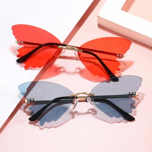 UV400 Ladies Rimless Butterfly Women Sunglasses