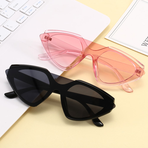 Women Sun glasses One Piece Lens Pointed Ladies Cat Eye Sunglasses