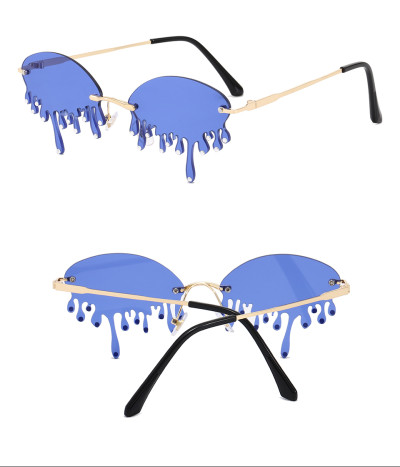Rimless Teardrop Fire Dripping Rhinestones Tear Shape diamond Sunglasses