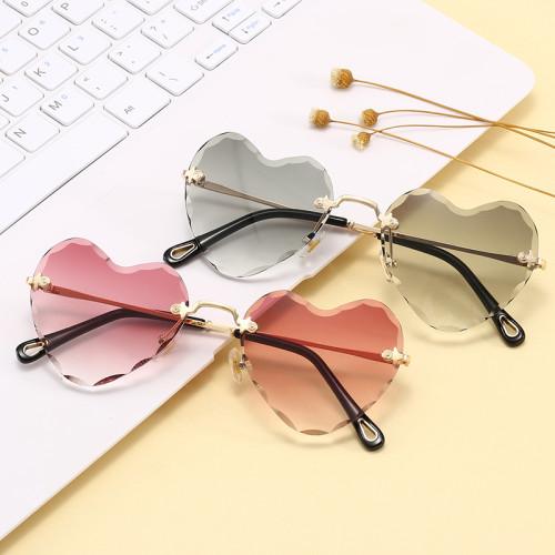 Ladies Women UV400 Rimless Heart Sunglasses