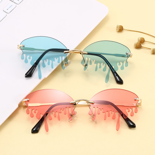 Rimless Tinted Fire Dripping Shape Women Ladies Sunglasses