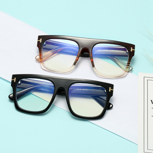 Flat Top Square Eyeglasses Frame Men Women Blue Light Blocking Glasses