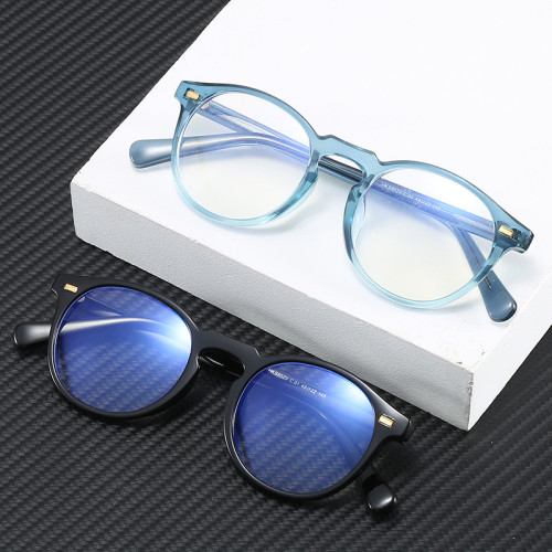 High Quality Propionate Temples TR90 Round Oval Eyeglasses Frame with Blue Light Blocking Lenses
