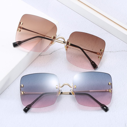 Square Women Gradient Oversize Rimless Shades Sunglasses