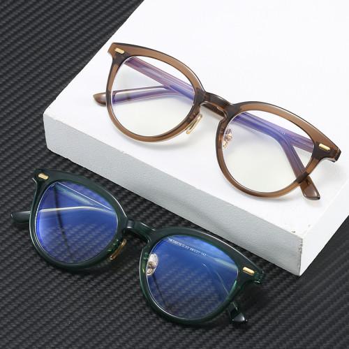 Tortoise Retro Vintage Round Oval TR90 Optical Frame Eyeglasses with Anti Blue Light Lenses