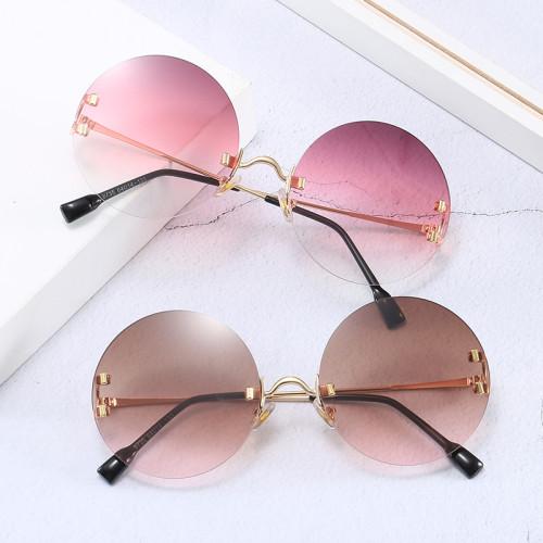 Women Shades UV400 Round Gradient Rimless Sunglasses