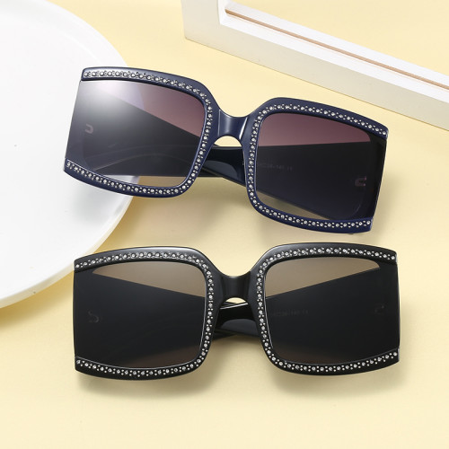 Large Frame Sun glasses Oversized Women Rhinestone Shades Sunglasses