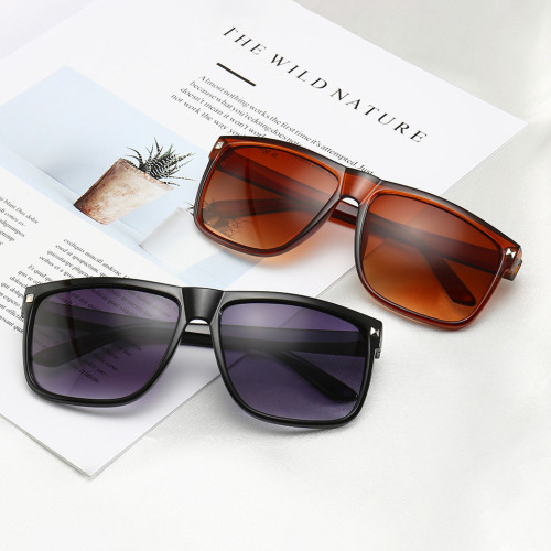 Plastic Flat Top Square Black Shades Sunglasses