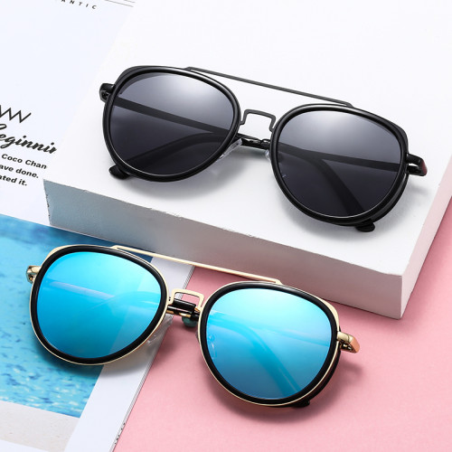 Men Round Side Shield Spring Hinge UV400 Steampunk Sunglasses
