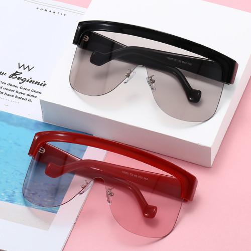 Men Women Oversized Flat Top One Piece Lens Shield Sunglasses